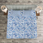 Blue Quilted Bedspread  Pillow Shams Set Native Festive Natural Print