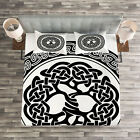 Celtic Quilted Bedspread  Pillow Shams Set Native Tree of Life Art Print