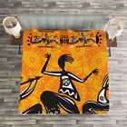 African Quilted Bedspread  Pillow Shams Set Native Dancer Tribal Print