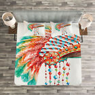 Native American Quilted Bedspread  Pillow Shams Set Tribe Chief Print