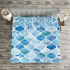 Moroccan Quilted Bedspread  Pillow Shams Set Arabic Mosaic Pattern Print
