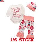 3PCS Newborn Baby Girls Boy Clothes Romper Jumpsuit + Pants Leggings Outfit Set