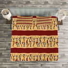African Woman Quilted Bedspread  Pillow Shams Set Tribal Native Folk Print