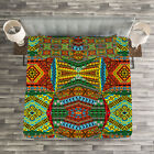 African Quilted Bedspread  Pillow Shams Set Ethnic Native Motifs Print