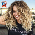 Ombre Blonde Black Ombre Bob Style Curly Afro Synthetic Wigs for Beauty Women US