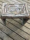 Hand Made Primitive Style Hooked Hit or Miss Rug on Very Primitive Wood Stool