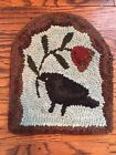 HAND MADE PRIMITIVE STYLE HOOKED RUG MAT simple design crow with flower