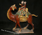 16.4'' chinese tang sancai Glazed Pottery carrying color war Camel Sculpture