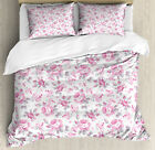 Shabby Chic Duvet Cover Set with Pillow Shams Pink Roses Spring Print