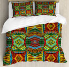 African Duvet Cover Set with Pillow Shams Ethnic Native Motifs Print