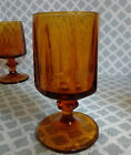 8 Indiana Colony Glass NOUVEAU GOLD Footed Water Wine 10 oz Goblets Vintage 1960