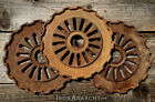 3 FARMHOUSE IRON COGS Vtg Atq Cast Metal Wheel Sprocket Gear Wall Art Industrial