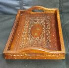 Handcrafted in India floral Chip Art Hand Carved Serving Tray Brass inlay 12x8in