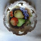 bavarian open work wall plate hand painted apple pears grapes strawberries fruit
