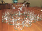 Vtg Krosno Poland Crystal Tall Etched Punch Bowl Set with 12 Cups Ladle