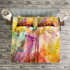 Modern Quilted Bedspread  Pillow Shams Set Rainbow Colored Image Print
