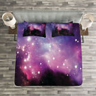 Space Quilted Bedspread  Pillow Shams Set Nebula Cosmos Image Print