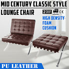 Mid Century Classic Style Leather Lounge Chair Stainless Steel Comfortable