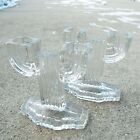 Vintage Anchor Hocking Queen Mary Clear Glass Pair of Candle Holders Cactus