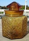 Vintage L.E. Smith Amber Daisy And Button Canister With Ground Lid 8 Inch