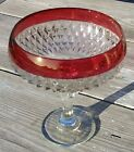 Vintage Indiana Glass Diamond Point Compote With Ruby Band