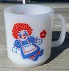 Vintage Raggedy Ann and Andy Milk Glass Coffee Cup