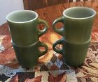Set of 4 Fire King AVOCADO GREEN STACKING COFFEE MUGS C CUP NICE