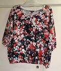 Jessica London 26/28 3/4 Sleeve Knit Top Multi Color Floral Ribbed Cuff/ Hem