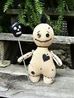 OOAK Primitive Halloween Folk Art VOODOO Doll w/ Skully Pin 9
