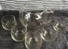 VINTAGE MID CENTURY GLASS ROUND PITCHER AND FIVE JUICE GLASSES SET