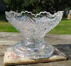 Pressed Glass Fruit Bowl with Heavy Base clear diamond star pattern unknown vtg