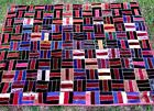 Antique 1890's Simple Stripes Crazy Quilt Embroidered Twin Size 73