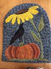 Reduced! Hand Made Primitive Style Hooked Rug Crow Pumpkin Sunflower