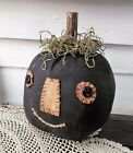 Primitive Black Pumpkin Head painted/ 8 inch ht. 18 Round/Hand stitched face