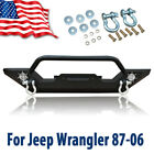 Powder Coated Front Bumper W LED Lights Fit Jeep Wrangler 87 96 YJ 97 06 TJ