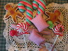 Handmade Christmas  gingerbread and candy bowl fillers ornies doll shel