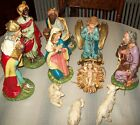 vtg 1940 50s Fontanini Italy paper mache Nativity set 12 scale hand painted