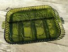 Beautiful Green Glass Serving Tray fruits large divided dish mid-century EUC