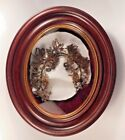 Antique Victorian Mourning Hair Flower Wreath in Original Oval Shadow Box Frame