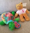 Lot Of 2 NEW AVON Plush Beanies Breast Cancer CURE Bear & Full Beans Turtle