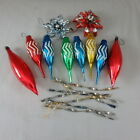 15 Vtg Mercury Glass and Metal Christmas Icicle Ornaments  2 Foil Flowers