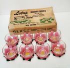 Rubel Lotus 1950's Pink Flower Ice Cream DESSERT DISHES boxed set of 8 VERY RARE
