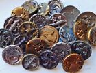 Small Antique collectible button lot~brass picture buttons~thistle~scroll~floral