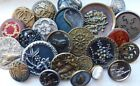 Antique collectible button lot~brass picture buttons~gilt~floral~bird~butterfly+