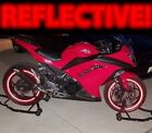 RED 3M REFLECTIVE RIM STRIPES WHEEL DECALS TAPE STICKERS SAFETY 17