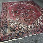 Antique Persian Heriz Hand Made Worn Faded Room Size Tribal Rug  9' x 11' 11