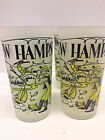Vintage 1950's Mid Century New Hampshire State Souvenir Glasses Frosted