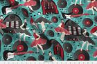 Kociara Guitars Jukebox Rock N Roll Records Fabric Printed By Spoonflower Bty