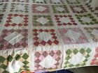 Old Handmade Quilt 77 x 78 Signed Squares Unique