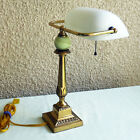 VINTAGE SOLID BRASS AND ONYX BANKERS DESK LAMP WITH THE WHITE GLASS SHADE